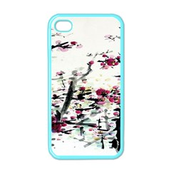Pink Flower Ink Painting Art Apple Iphone 4 Case (color)
