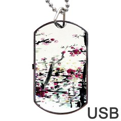 Pink Flower Ink Painting Art Dog Tag Usb Flash (two Sides)