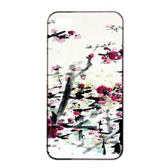 Pink Flower Ink Painting Art Apple iPhone 4/4s Seamless Case (Black)