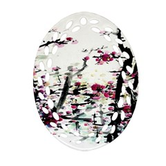 Pink Flower Ink Painting Art Ornament (oval Filigree)