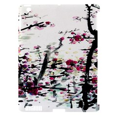 Pink Flower Ink Painting Art Apple Ipad 3/4 Hardshell Case (compatible With Smart Cover)