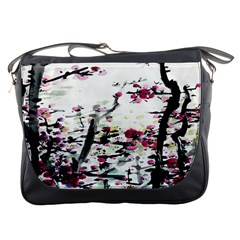 Pink Flower Ink Painting Art Messenger Bags