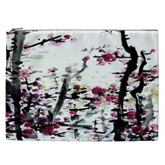 Pink Flower Ink Painting Art Cosmetic Bag (xxl)