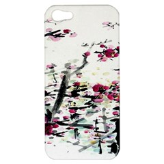 Pink Flower Ink Painting Art Apple Iphone 5 Hardshell Case