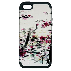 Pink Flower Ink Painting Art Apple iPhone 5 Hardshell Case (PC+Silicone)