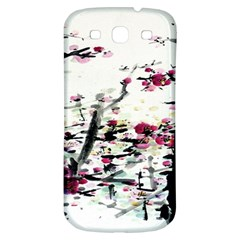 Pink Flower Ink Painting Art Samsung Galaxy S3 S III Classic Hardshell Back Case