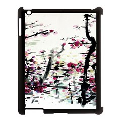 Pink Flower Ink Painting Art Apple Ipad 3/4 Case (black)
