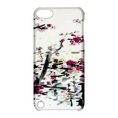 Pink Flower Ink Painting Art Apple iPod Touch 5 Hardshell Case with Stand