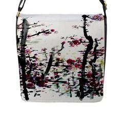 Pink Flower Ink Painting Art Flap Messenger Bag (l)