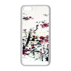 Pink Flower Ink Painting Art Apple Iphone 5c Seamless Case (white)