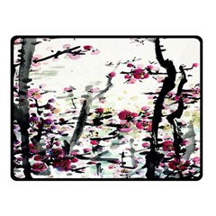 Pink Flower Ink Painting Art Double Sided Fleece Blanket (small)