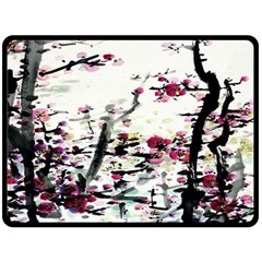 Pink Flower Ink Painting Art Double Sided Fleece Blanket (Large)