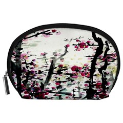 Pink Flower Ink Painting Art Accessory Pouches (large)