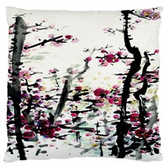 Pink Flower Ink Painting Art Standard Flano Cushion Case (two Sides)