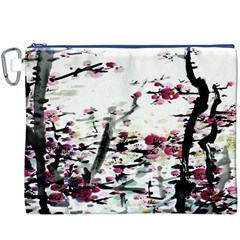 Pink Flower Ink Painting Art Canvas Cosmetic Bag (XXXL)