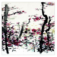 Pink Flower Ink Painting Art Large Satin Scarf (Square)
