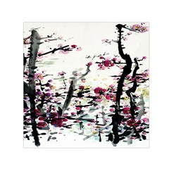 Pink Flower Ink Painting Art Small Satin Scarf (square)