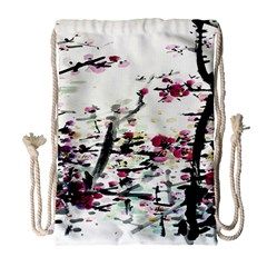 Pink Flower Ink Painting Art Drawstring Bag (large)