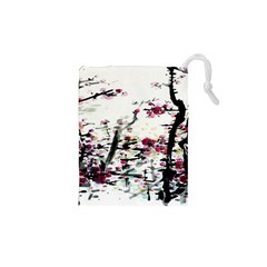 Pink Flower Ink Painting Art Drawstring Pouches (xs)