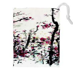 Pink Flower Ink Painting Art Drawstring Pouches (XXL)