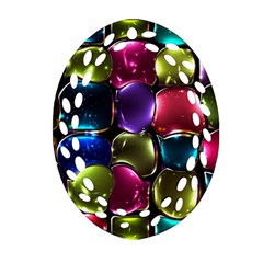 Stained Glass Oval Filigree Ornament (Two Sides)