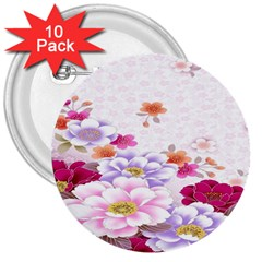 Sweet Flowers 3  Buttons (10 Pack)