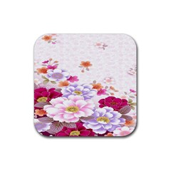 Sweet Flowers Rubber Square Coaster (4 Pack)