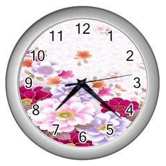 Sweet Flowers Wall Clocks (Silver)