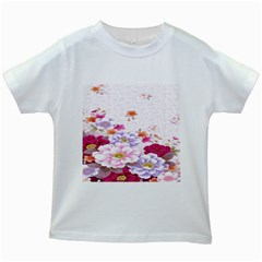 Sweet Flowers Kids White T-Shirts