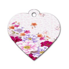 Sweet Flowers Dog Tag Heart (one Side)