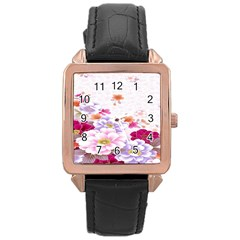 Sweet Flowers Rose Gold Leather Watch