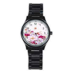 Sweet Flowers Stainless Steel Round Watch
