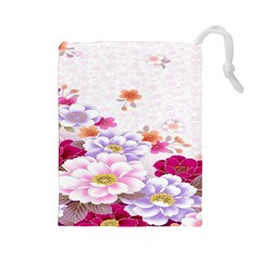 Sweet Flowers Drawstring Pouches (large)
