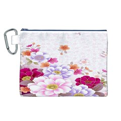 Sweet Flowers Canvas Cosmetic Bag (L)