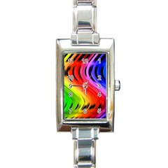 Colorful Vertical Lines Rectangle Italian Charm Watch