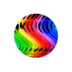 Colorful Vertical Lines Magnet 3  (round)