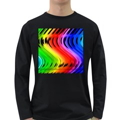 Colorful Vertical Lines Long Sleeve Dark T-Shirts