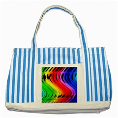 Colorful Vertical Lines Striped Blue Tote Bag