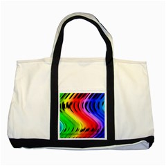 Colorful Vertical Lines Two Tone Tote Bag