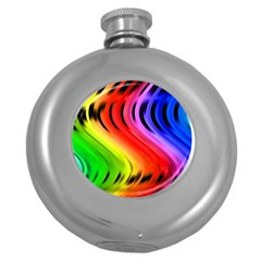 Colorful Vertical Lines Round Hip Flask (5 oz)