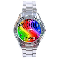 Colorful Vertical Lines Stainless Steel Analogue Watch