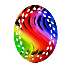 Colorful Vertical Lines Oval Filigree Ornament (two Sides)
