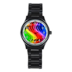 Colorful Vertical Lines Stainless Steel Round Watch
