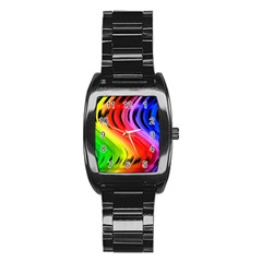 Colorful Vertical Lines Stainless Steel Barrel Watch