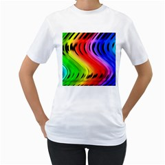 Colorful Vertical Lines Women s T Shirt (white)