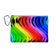 Colorful Vertical Lines Canvas Cosmetic Bag (M)