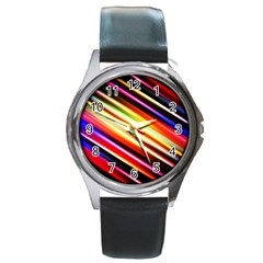 Funky Color Lines Round Metal Watch