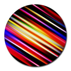 Funky Color Lines Round Mousepads