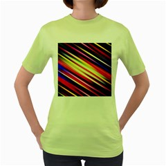 Funky Color Lines Women s Green T-Shirt