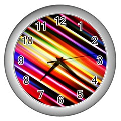Funky Color Lines Wall Clocks (Silver)